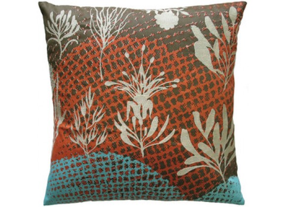 """Koko Company Ecco 20"""" x 20"""" Embroidered Pillow with Off White Leaves"""