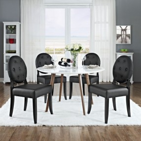 Modway Button Dining Side Chair Set of 4 in Black